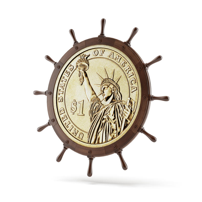 Ruota di guida della nave con la moneta del dollaro illustrazione vettoriale