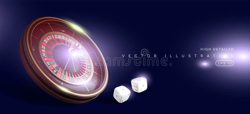 Ruota di roulette del casinò isolata su fondo blu illustrazione realistica di vettore 3D Roulette online del casinò della mazza royalty illustrazione gratis