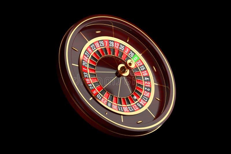 Ruota di roulette di lusso del casinò su fondo nero Icona di tema del casinò Roulette di legno del casinò del primo piano con una illustrazione di stock