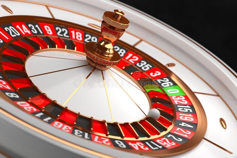 Ruota di roulette di lusso del casinò su fondo nero Tema del casinò Roulette bianche del casinò del primo piano con una palla su  immagini stock libere da diritti