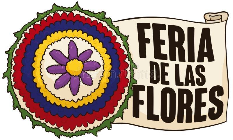 Ruota e rotolo tradizionali del fiore per il festival dei fiori, illustrazione di vettore illustrazione di stock