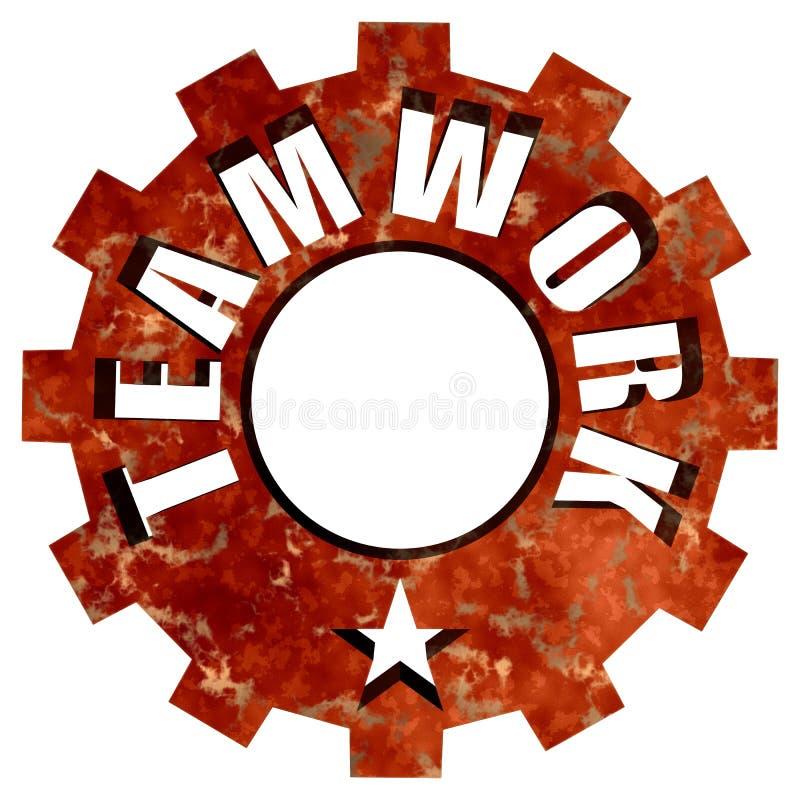 Ruota e stella d'acciaio dell'ingranaggio del testo di lavoro di squadra illustrazione di stock