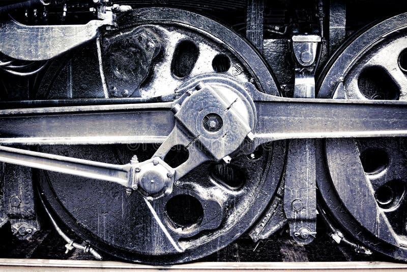 Ruota motrice della macchina per locomotive del vapore dell'annata Grunge fotografia stock libera da diritti