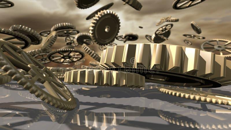 Ruote d'annata del movimento a orologeria di Steampunk cadute rappresentazione 3d illustrazione vettoriale