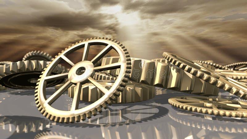 Ruote d'annata del movimento a orologeria di Steampunk rappresentazione 3d illustrazione di stock