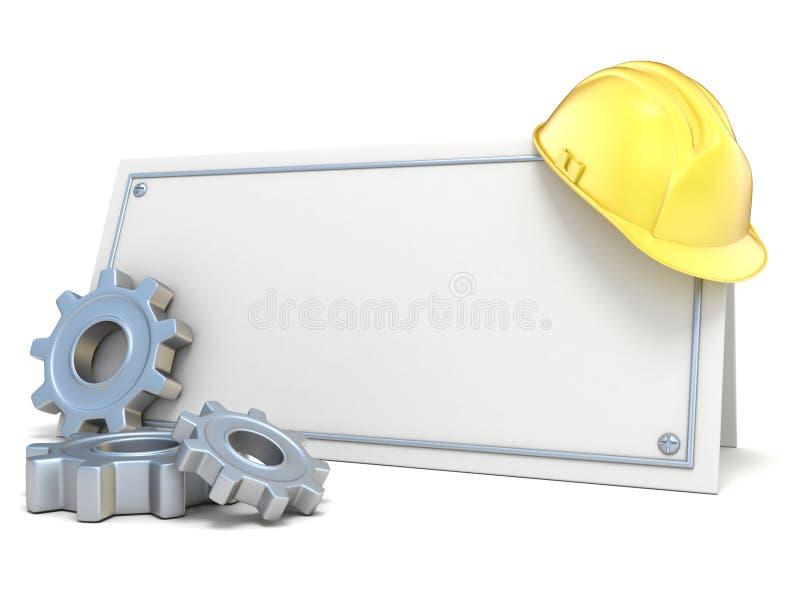 Ruote del casco e di ingranaggio della costruzione, sulla carta in bianco 3d illustrazione di stock