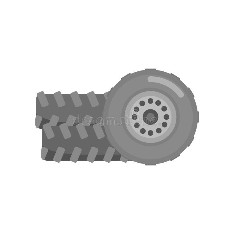 Ruote della gomma di automobile, illustrazione automatica di vettore del segno di servizio illustrazione di stock