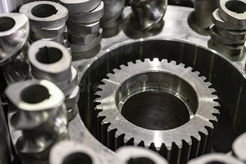 Ruote dentate d'acciaio, ingranaggi cilindrici immagine stock