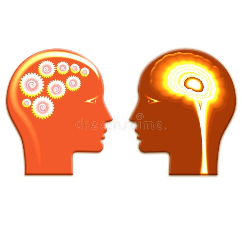 Ruote di ingranaggi splese e cervello spleso, concetto razionale e creativ illustrazione di stock