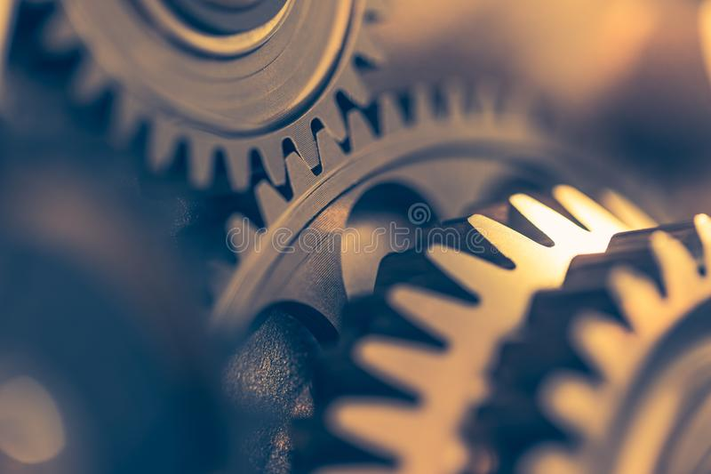 Ruote di ingranaggio del motore, fondo industriale immagini stock