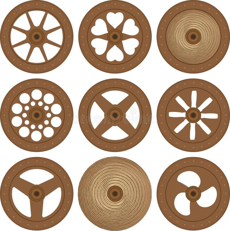Ruote di legno illustrazione vettoriale