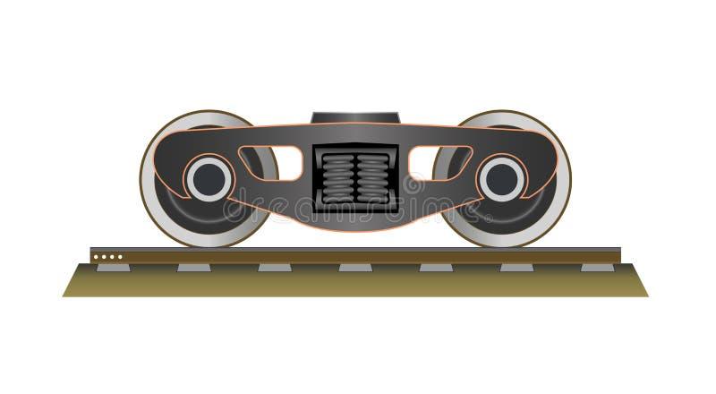 Ruote e carrello ferroviario illustrazione di stock
