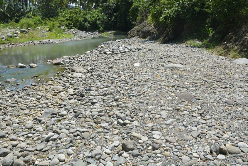 Ruparan河岸, Digos市,南达沃省,菲律宾的被淤积的部分在barangay Ruparan的 库存照片