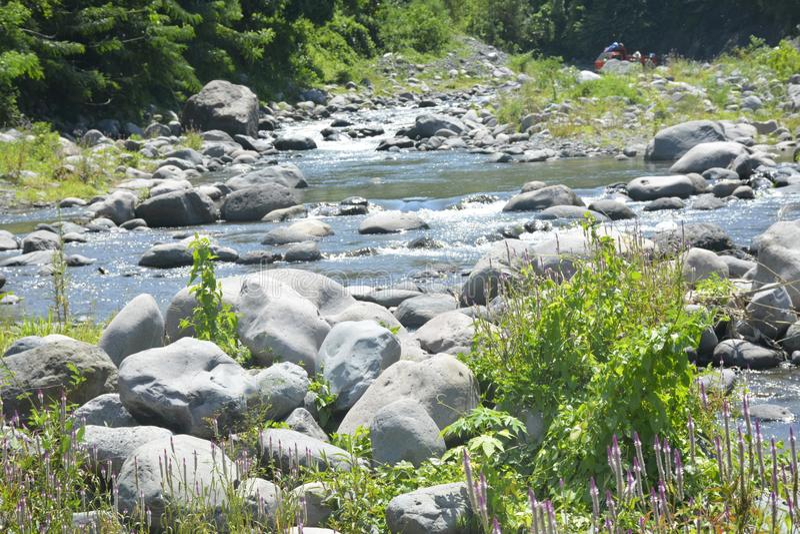 Ruparan河床位于barangay Ruparan, Digos市,南达沃省,菲律宾 免版税图库摄影