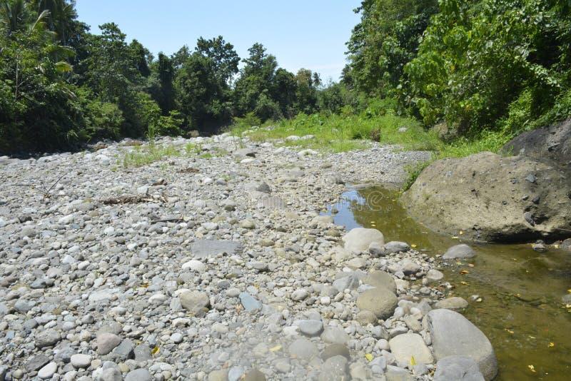 Ruparan河, Digos市,南达沃省,菲律宾的被淤积的部分barangay Ruparan的 免版税库存图片