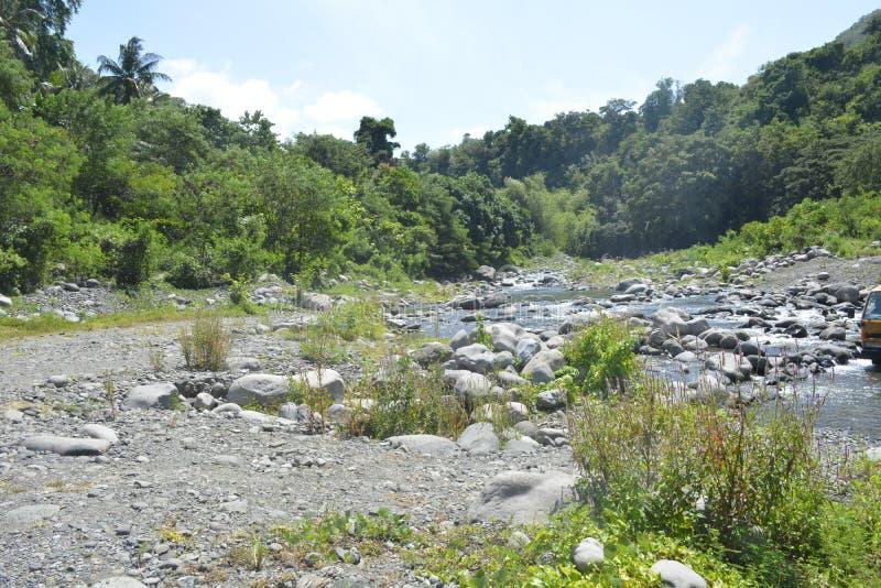 Ruparan riverbank lokalizować przy barangay Ruparan, Digos miasto, Davao Del Sura, Filipiny zdjęcia stock