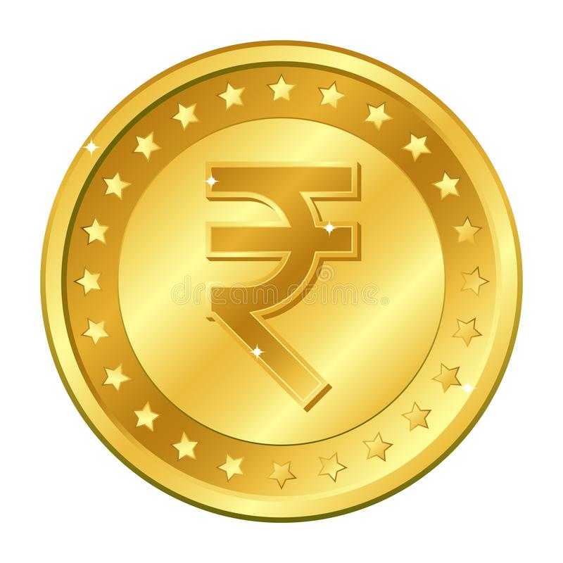 Rupee currency gold coin with stars. Indian currency. Vector illustration isolated on white background. Editable elements and glar royalty free stock images