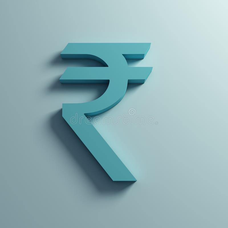 Rupee Currency symbol in Wall. 3D Rendering Illustration stock illustration