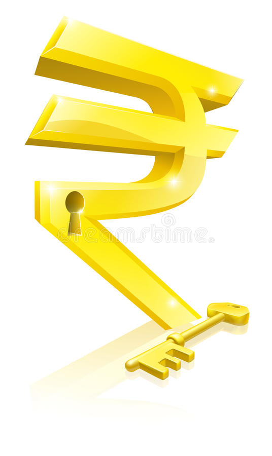 Download Rupee key lock concept stock vector. Image of financial - 26010279
