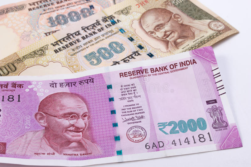 2000 rupee new Indian currency over 500 rupee and 1000 rupee. stock images