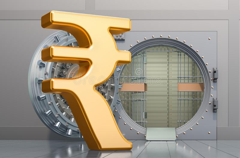 Rupee sign with opened bank vault, 3D rendering. Isolated on white background stock illustration
