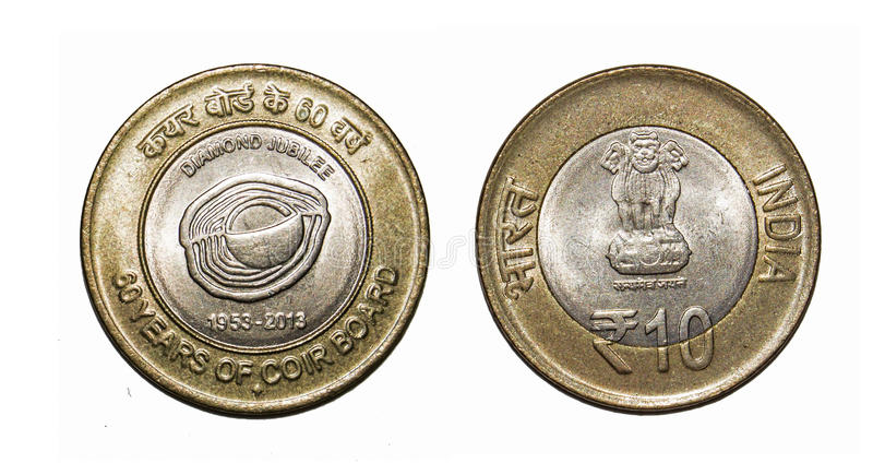 Rupees 10 Coin of India Isolated. Ten Rupees Commemorative coin of India issued on 60 years of Coir Board stock image