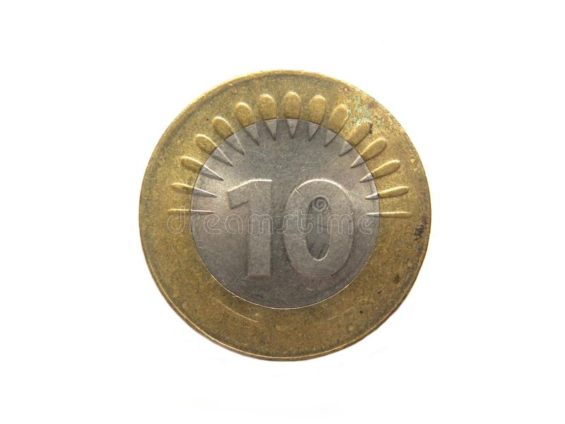 Ten Rupees Coin. 10 Rupees Coin India on white background royalty free stock photo