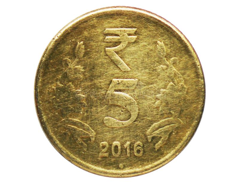 5 Rupees coin, 1957~Today - Circulation serie, Bank of India. Obverse, issued on 2011. Isolated on white stock images