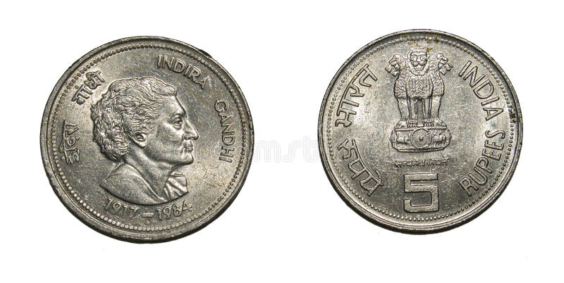 Rupees Currency Coin. Rupees Five Commemorative Coin India on Indira Gandhi the first Lady Prime Minister of Independent India. Coin was minted at Government of royalty free stock photos