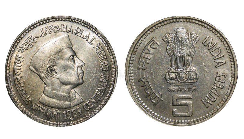 Rupees Five Coin India. Rupees Five Commemorative Coin India Jawaharlal Nehru, Freedom Fighter and the first Prime Minister of Independent India. Coin was minted royalty free stock photos