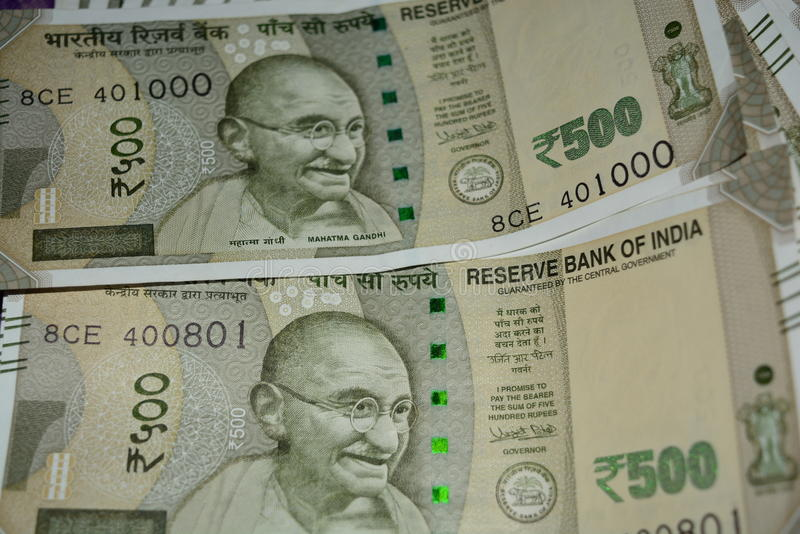 Rupees. Indian rupees 500 notes in floor stock photography