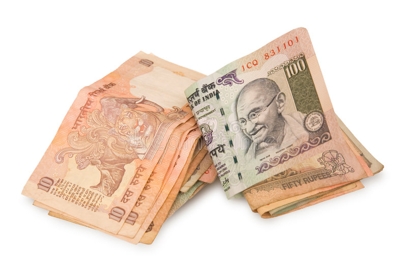 Rupees isolated. Indian rupees isolated on a white background stock image