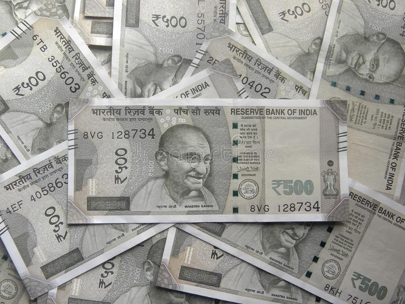 500 Rupees notes. Many five hundred rupees India currency notes royalty free stock photos