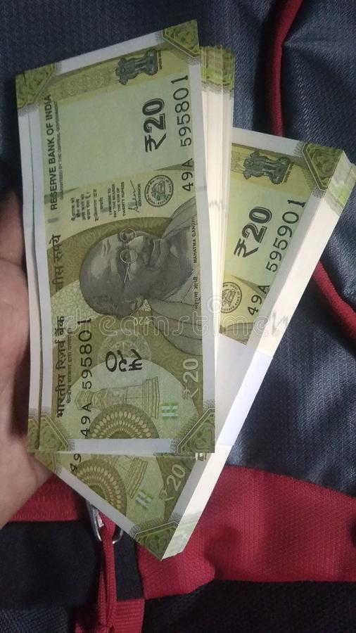 20 rupees. 20, rupess, new, notes stock photo