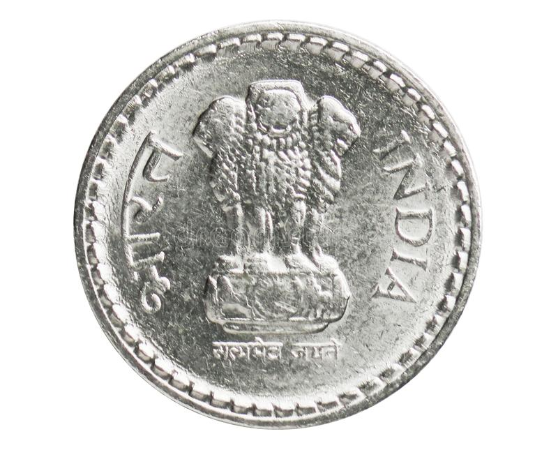 5 Rupees security edge coin, 1957~Today - Circulation serie, Bank of India. Obverse, issued on 1992. Isolated on white stock photos