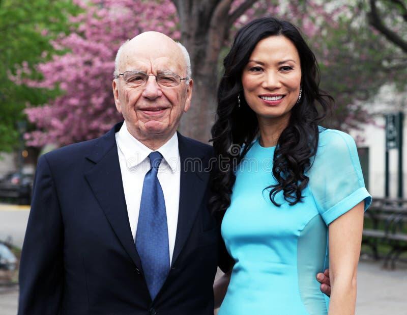 Rupert Murdoch e Wendi Deng Murdoch fotografia stock libera da diritti