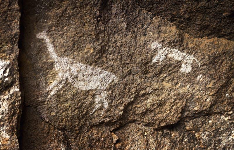 Rupestrian rotskunst in Sumbay-Hol van paleolitische era, Zuidelijk Peru royalty-vrije stock foto's