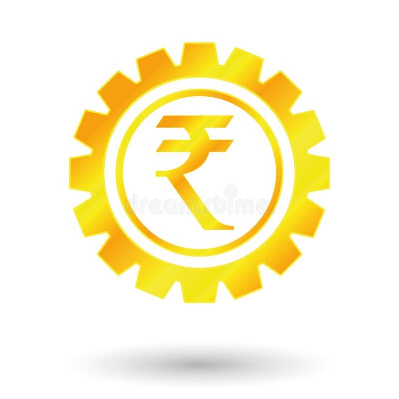 Rupi символа золота иллюстрация вектора