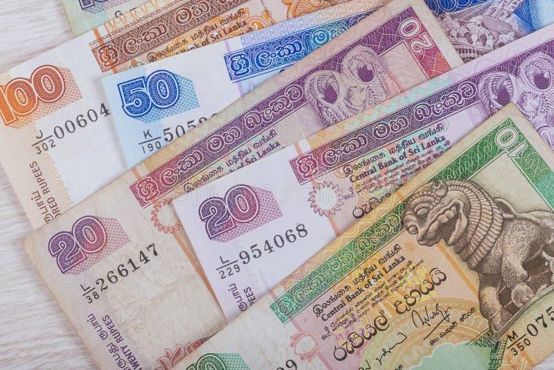 Rupia del dinero de Sri Lanka, billete de banco 10 20 50 100 imagen de archivo libre de regalías