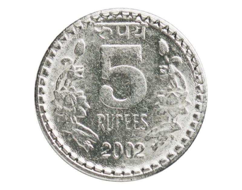 5 rupias de la seguridad de moneda del borde, 1957~Today - serie de la circulación, banco de la India imagen de archivo libre de regalías