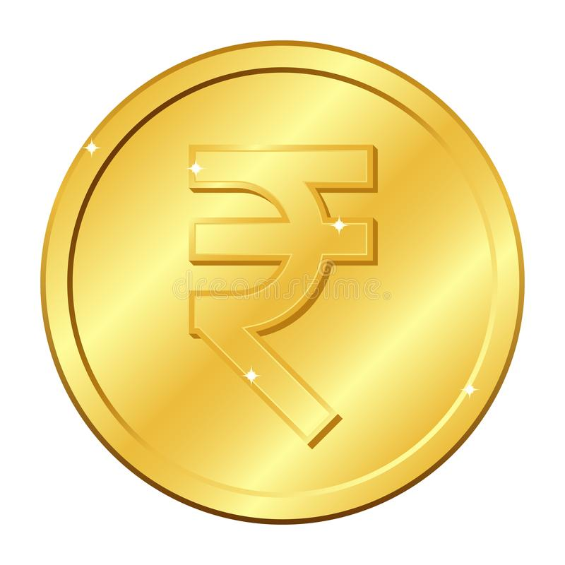 Rupienwährungs-Goldmünze Indisches Bargeld Vektorabbildung getrennt auf weißem Hintergrund Editable Elemente und greller Glanz vektor abbildung