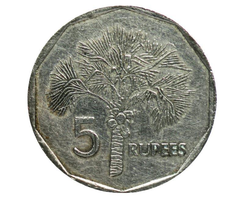5 rupier förändrade vapensköldmyntet, den fråna Seychellerna banken Avers 1992 arkivbild