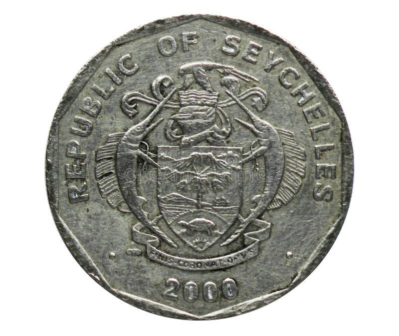 5 rupier förändrade vapensköldmyntet, den fråna Seychellerna banken Vända om 1992 royaltyfria foton