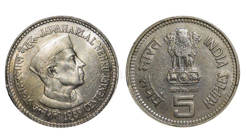 Rupier fem mynt Indien royaltyfria foton