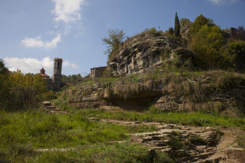 Rupit i Pruit - Middeleeuws Catalaans dorp stock afbeelding