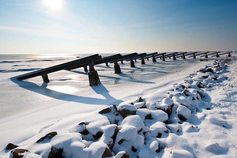 Rupteurs de glace en hiver photographie stock