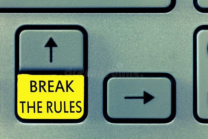 Ruptura da exibição da nota da escrita as regras Foto do negócio que apresenta para fazer algo contra regras e limitações formais ilustração do vetor