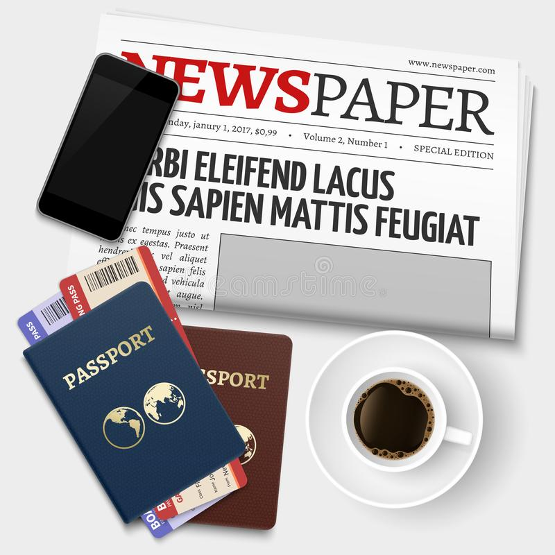 Ruptura de café do negócio da vista superior antes da viagem Fundo do vetor dos passaportes, do jornal, do telefone e dos bilhete ilustração stock