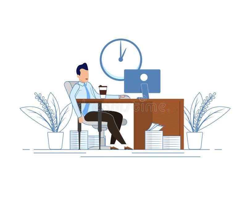 Ruptura de café durante o plano dos desenhos animados dos horários comerciais ilustração do vetor