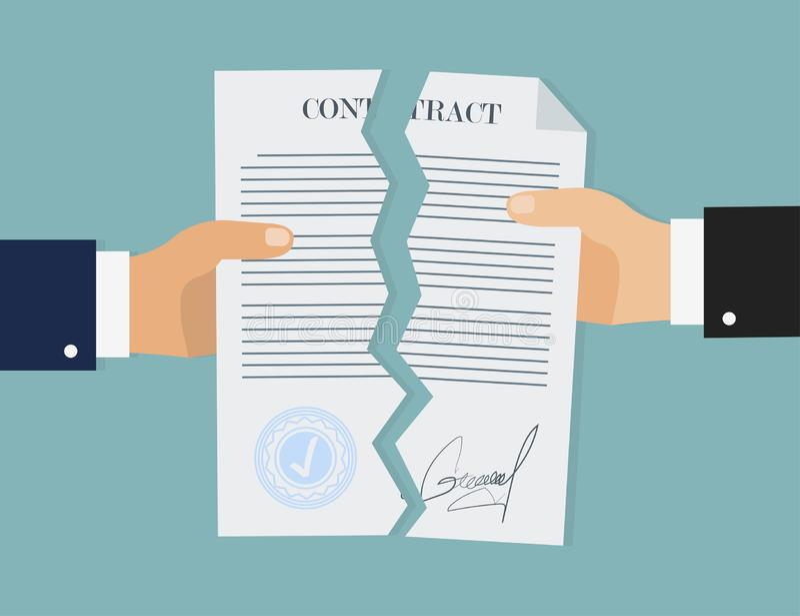 Ruptura do contrato no estilo liso, conceito do negócio, vetor ilustração stock